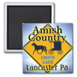Amish Horse&Buggy Road Sign Magnet.Lanc. 2 Inch Square Magnet