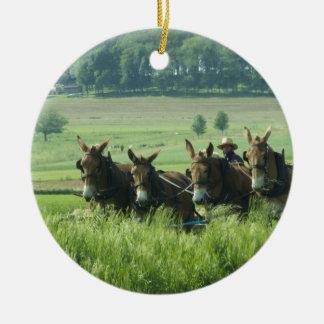 Amish Horse Drawn Plow Ceramic Ornament