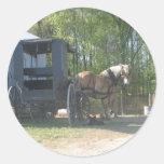 Amish Horse Round Sticker