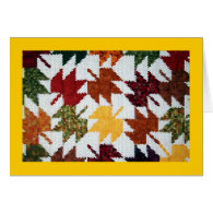 Amish Leaves Greeting Cards