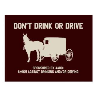 Amish - no beba ni conduzca postal