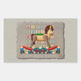 Amish Rocking Horse Rectangular Sticker