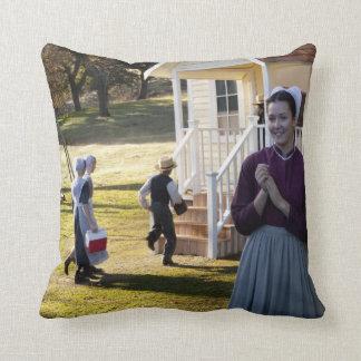Amish School Days Throw Pillow
