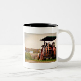 Amish Steam Tractor Two-Tone Coffee Mug