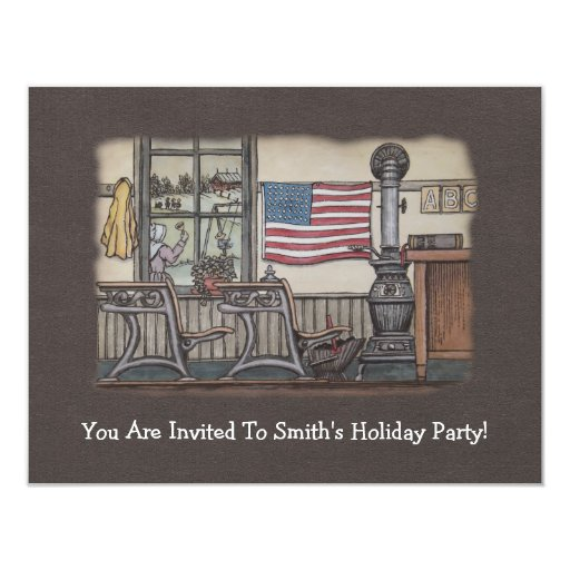 """Amish un sitio de la escuela del sitio invitación 4.25"""" x 5.5"""""""