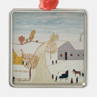 Amish Village Metal Ornament