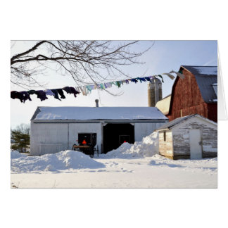 Amish Winter Laundry Scene Card