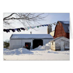 Amish Winter Laundry Scene Greeting Card