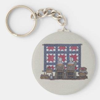 Amish Women Quilting Basic Round Button Keychain
