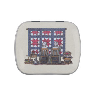 Amish Women Quilting Jelly Belly Tins