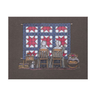 Amish Women Quilting Canvas Print