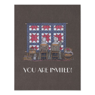 Amish Women Quilting Card