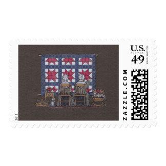 Amish Women Quilting Postage Stamp