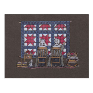 Amish Women Quilting Post Card
