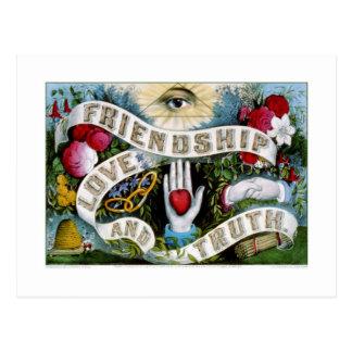 Amistad, amor y verdad (1874) postales