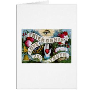 Amistad, amor y verdad (1874) tarjeta de felicitación