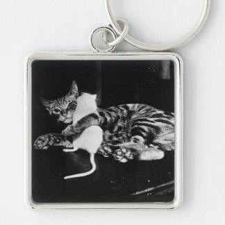 Amistad asombrosamente - gato Minnie y ratón de Llavero Cuadrado Plateado