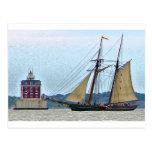 Amistad at Ledge Light House Postcard