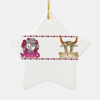 Amistad de la astrología del zodiaco del tauro del ornamento de navidad