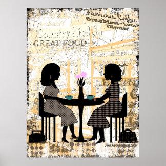 Amistad del café del restaurante póster