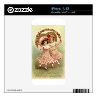 Amistad del el día de San Valentín del vintage iPhone 4 Skin