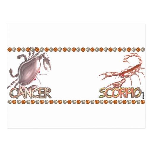Amistad del zodiaco del escorpión del cáncer por postal