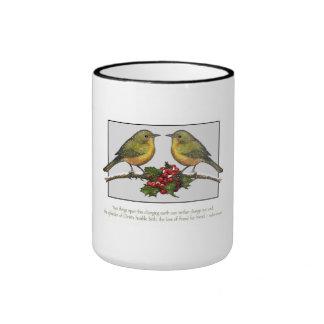 Amistad, navidad: Pájaros con el acebo, nieve: Art Taza De Café