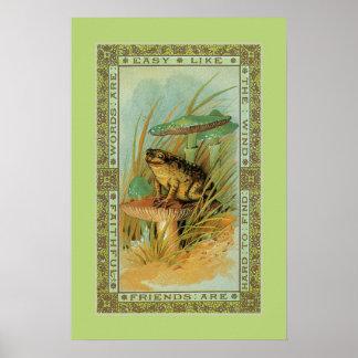 Amistad, rana del Victorian (sapo), toadstools Póster
