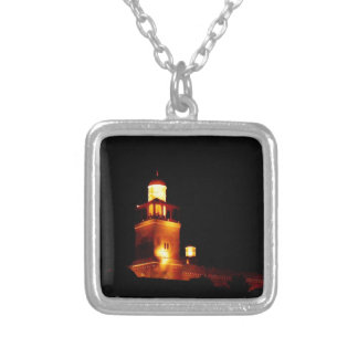 Amman King Hussein Mosque #2 Square Pendant Necklace