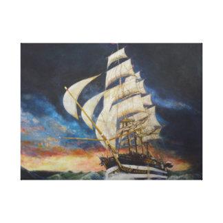 Ammerigo Vespucci. Tall ship in a gale. Canvas Print