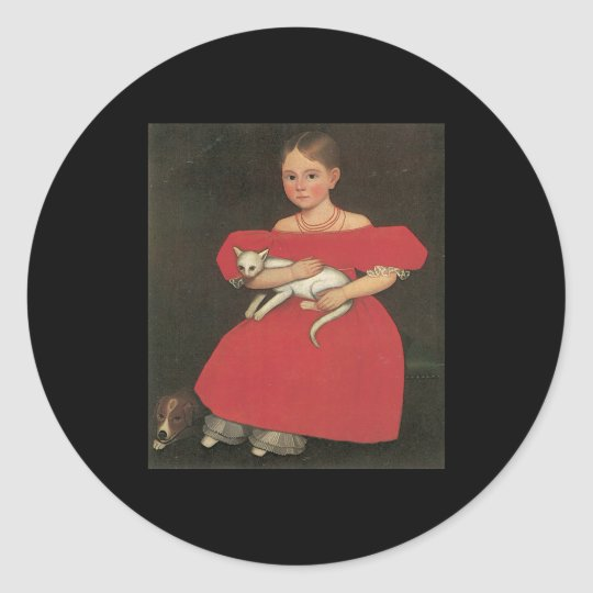 Ammi Phillips Girl in Red with her cat and dog Classic Round Sticker