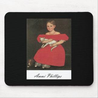 Ammi Phillips Girl in Red with her cat and dog Mouse Pad