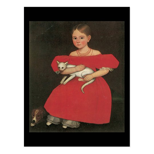 Ammi Phillips Girl in Red with her cat and dog Postcard