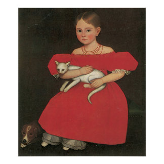 Ammi Phillips Girl in Red with her cat and dog Poster