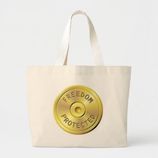 Ammo cartridge from a fired bullet, freedom large tote bag