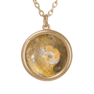 Ammonite Fossil and Other Fossils in Rock Round Pendant Necklace