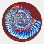 Ammonite fossil classic round sticker