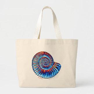 Ammonite fossil large tote bag