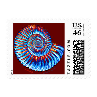 Ammonite fossil postage stamps