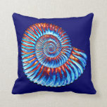 Ammonite fossil throw pillows