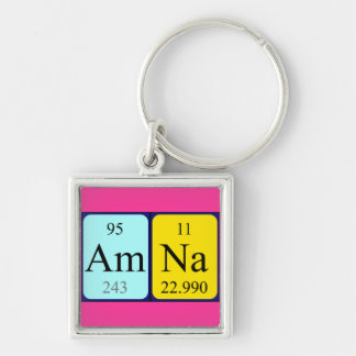 Amna periodic table name keyring Silver-Colored square keychain