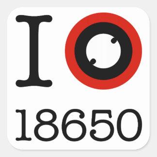 Amo 18650 baterías Li-Ion Calcomanía Cuadradas Personalizada