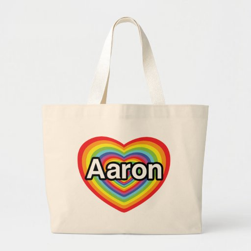 Amo a Aaron, corazón del arco iris Bolsa De Mano