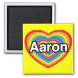Amo a Aaron. Te amo Aaron. Corazón Iman De Nevera
