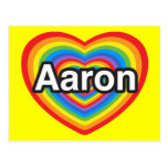 Amo a Aaron. Te amo Aaron. Corazón Postales
