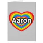 Amo a Aaron. Te amo Aaron. Corazón Tarjetas