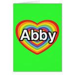 Amo a Abby, corazón del arco iris Tarjeta De Felicitación