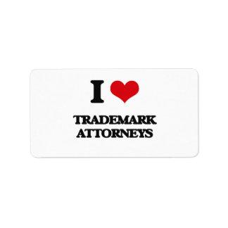 Amo a abogados de la marca registrada etiquetas de dirección