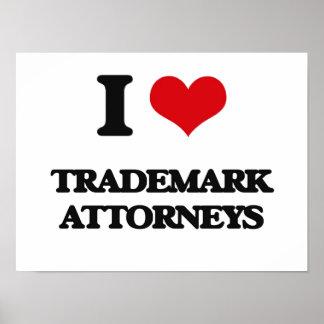 Amo a abogados de la marca registrada poster