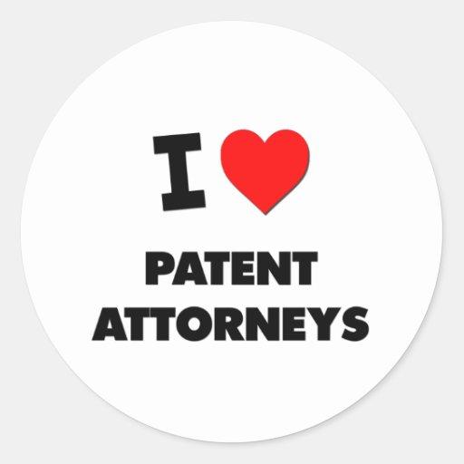 Amo a abogados de patentes pegatinas redondas